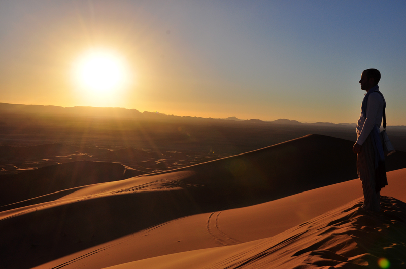 The vast desert...with Fabrice Knecht on a high dune.
