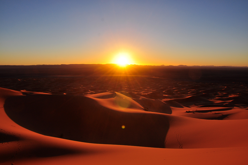 The endless desert at sunset.