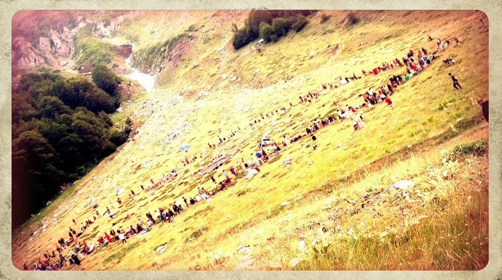 The main circle at the European Rainbow Gathering in the mountains of Greece...Gathering for dinner time!