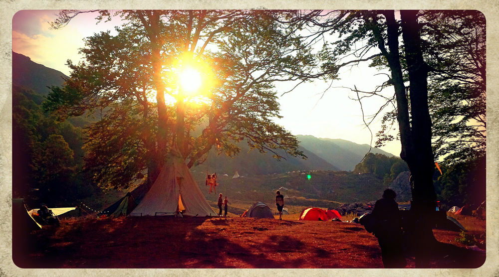 Sunset at the 31st European Rainbow Gathering in Hellas.