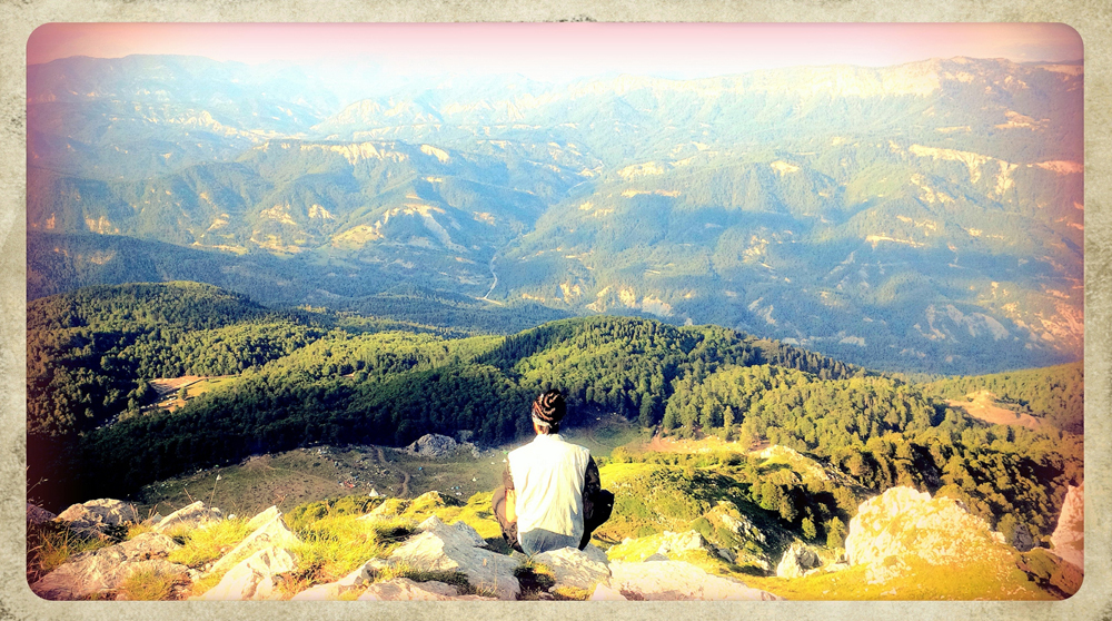 Meditation in the powerful mountains in northern Greece.