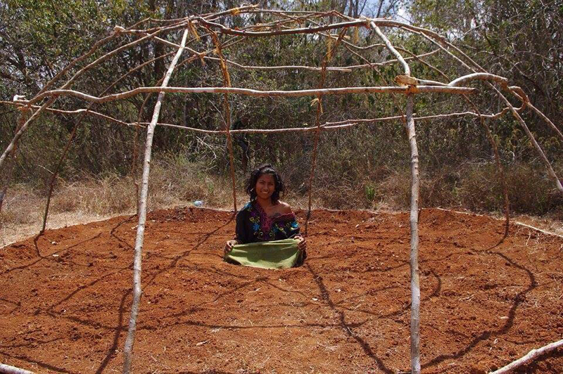 """Traditional Temazcal sweat lodge being built on Lemurian land! The first structure model was built by our friend from France. The project then became instead a sacred womb for shamanic ceremonies. Another project went underway to build another Temazcal, utilising more of a sacred alignment with the sun's path and the amount of sticks used"" says Guillermo."