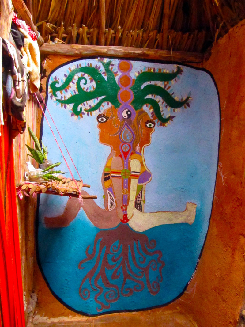 Beautiful painting finished over the bathroom's wall, the portrait of a cosmic union between two souls emerging from the Gaian mind, sharing one heart, one soul, all interconnected by the Ceiba tree. It is the magical sacred tree of the Mayan people..