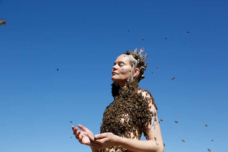 "SARA MAPELLI in meditation during her bee dance - or ""Infinity Serenity"" as Sara says. Photographed in Corvallis, Oregon, USA."
