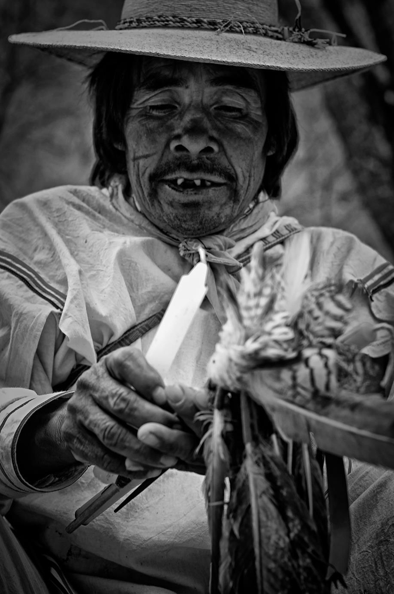 Mara'akame Don Roberto, brother of Don José making an offering.