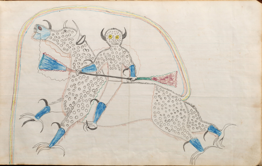 Dream or Vision or Himself Changed to a Destroyer or Riding a Bufalo Eagle, 1880 – 1881. Drawing by Black Hawk (1832?-c. 1889?), Sans Arc Lakota (Teton Sioux), South Dakota. Paper, ink, graphite 10 x 16 in. (25.4 x 40.6 cm). Cooperstown (New York), Fenimore Art Museum, The Thaw Collection, gift of Eugene V. and Clare E.