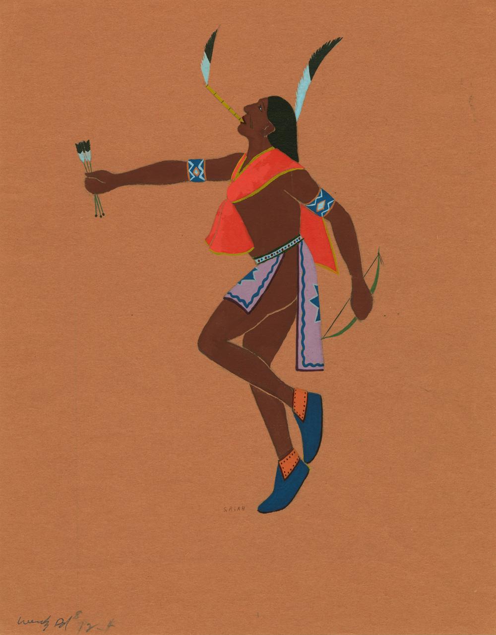 Kiowa Sun Dancer, c. 1930 by Spencer Asah, Kiowa. Tempera on paper 9 7/8 in. x 6 3/16 in. The Fred Jones Jr. Museum of Art, the University of Oklahoma.