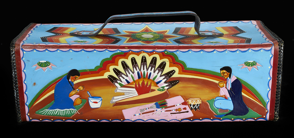 Peyote Box, c. 1975. Johnny Hoof (unknown dates), Arapaho, Oklahoma. Commercial leather, metal, pigment. Tulsa (Oklahoma), Gilcrease Museum, gift of Pearl Big Bow.