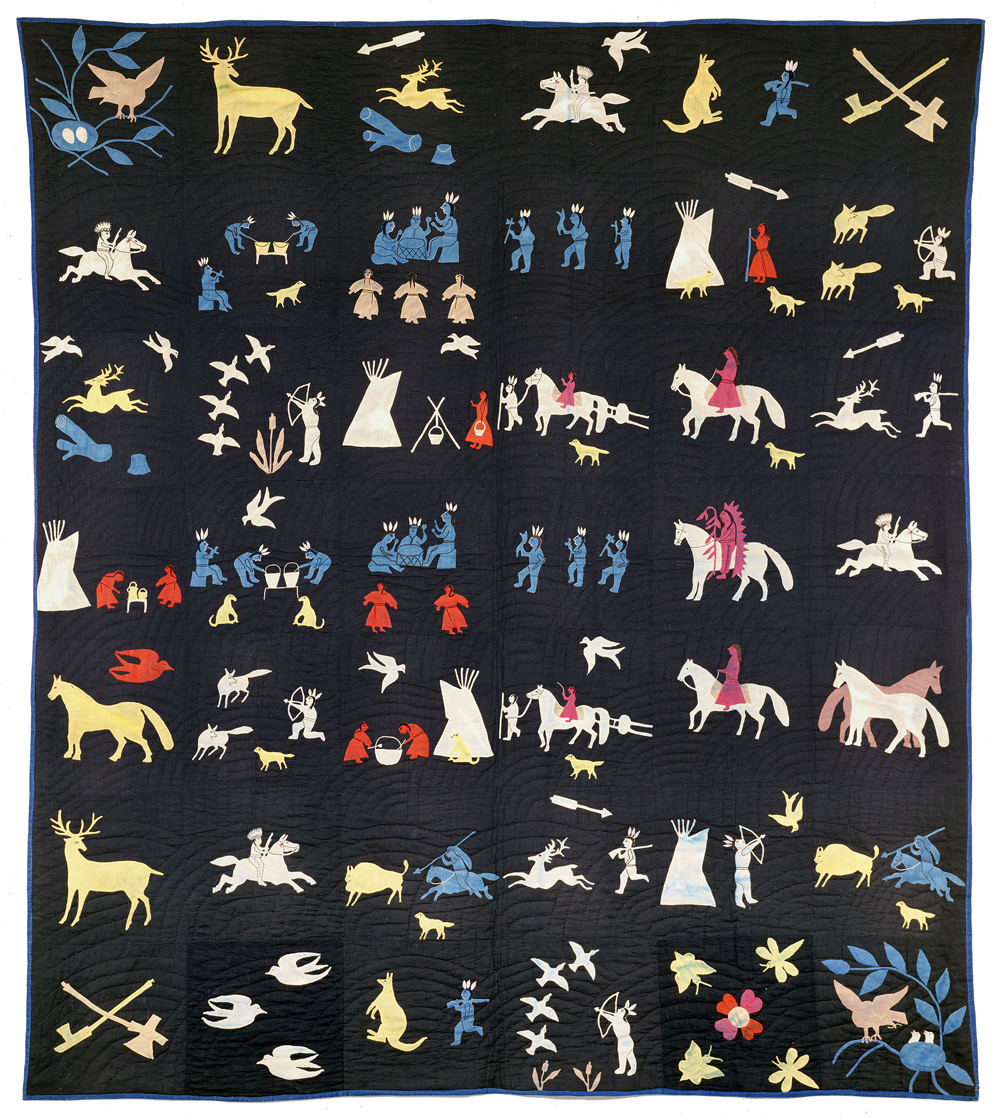 Quilt, c. 1915 by Rebecca Blackwater (unknown dates), Dakota (Eastern Sioux) or Lakota (Teton Sioux), Santee (Nebraska) or Rosebud (South Dakota). Cotton cloth, cotton thread 78 x 70 in. (198.1 x 177.8 cm) United States, Joan and Bill Alfond Collection.