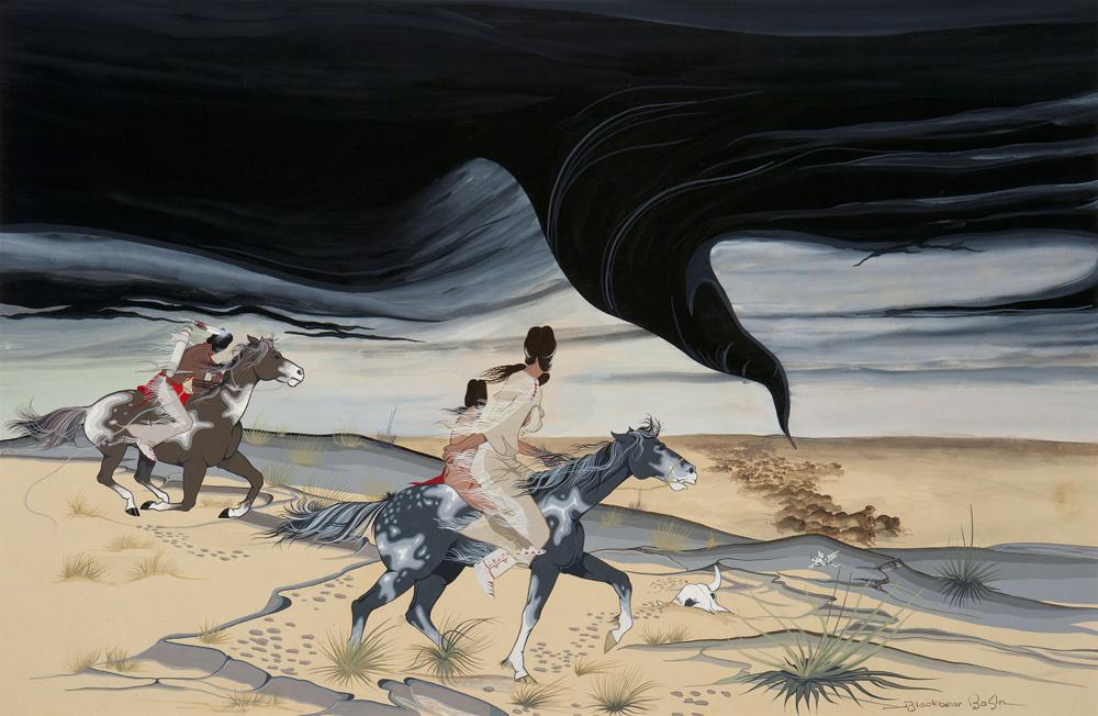 Wind Spirit, c.1955 by Blackbear Bosin, Francis Blackbear Bosin, Tsate Kongia, Blackbear (1921-1980), Comanche-Kiowa, Oklahoma. Paper, watercolor 23 x 33 5/8 in. (58.4 x 85.4 cm) Tulsa (Oklahoma), Philbrook Museum of Art and Nola Bosin Kimble Estate.