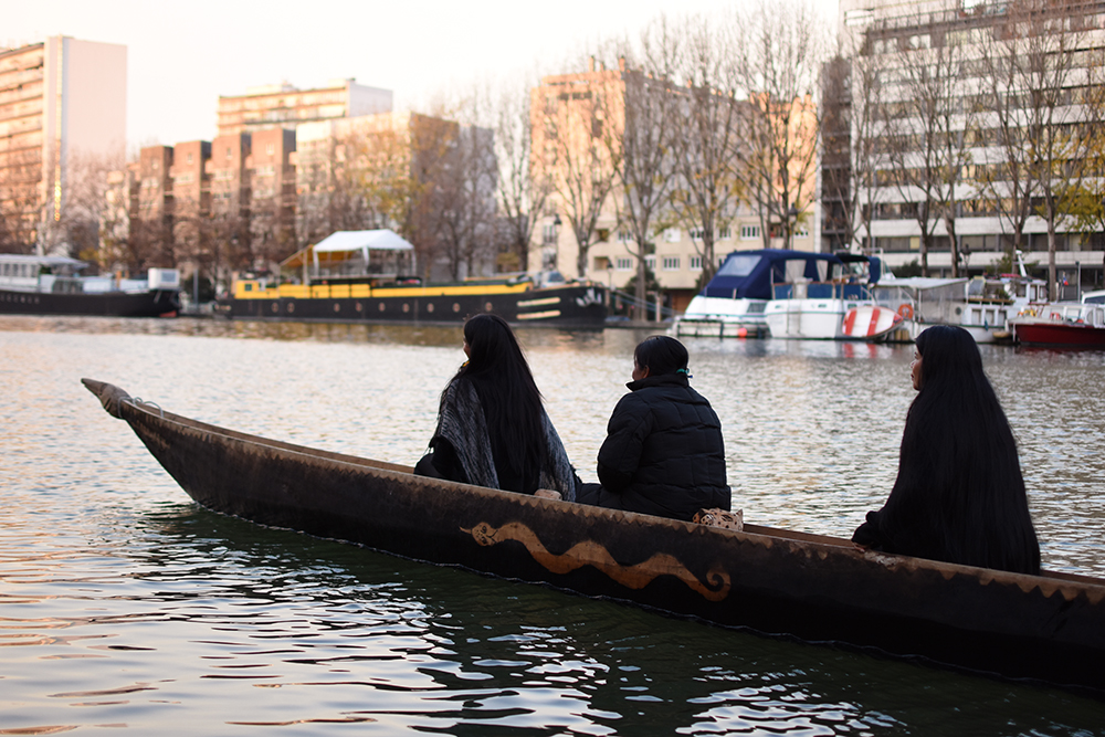 Nina Gualinga, Ena Santi and Patricia Gualinga on the Canoe of Life.
