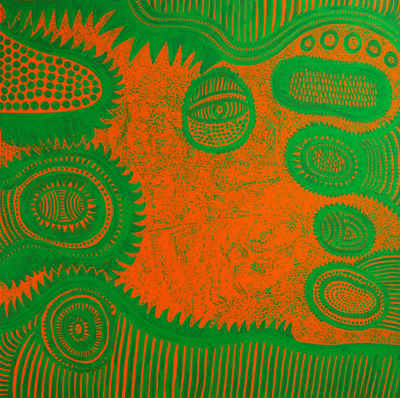 THE SEASON CAME WITH TEARS (2015) by Yayoi Kusama. Acrylic on canvas, 194 x 194 x 7 cm