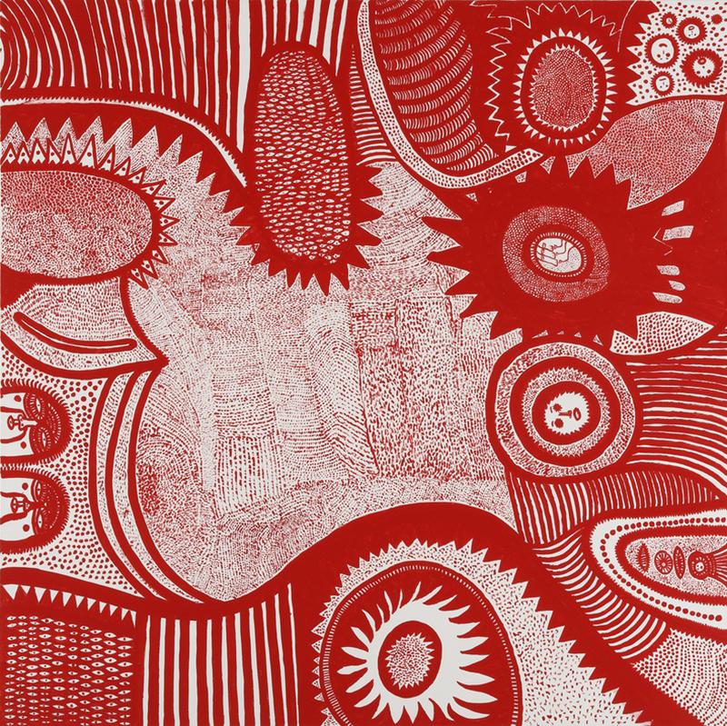 SHEDDING TEARS TO THE SEASON (2015) by Yayoi Kusama. Acrylic on canvas, 194 x 194 x 7 cm