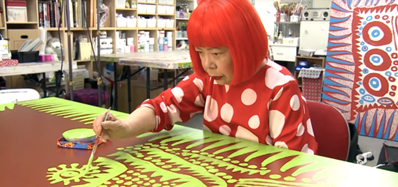 The Third Eye magazine-yayoi kusama painting-at work-screenshot